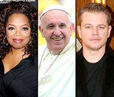 Pope Francis Summons Oprah Winfrey and Matt Damon to the Vatican in the fall.