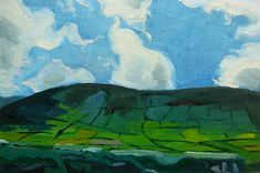 """DUNQUIN""  Artistic, affordable, and original artwork hand painted with love.   Original Small Sized Irish Landscape Oil Painting of a Hillside & Blue Sky measuring approximately 6.5 x 4.5 inches hand painted for exhibition in artists oil colors Ventian Red, Lemon Yellow, Persian Blue, and Titanium White. This work was hand painted from a romantic scenic cliffside near Dunquin, Ireland in gorgeous County Kerry on my trip to the Great Blasket Islands. By Megan Smey"