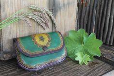 Green Purple Ladies Purse Ladies Purse, Green And Purple, Card Sizes, Tan Leather, Saddle Bags, Belts, Purses, Handmade, Handbags