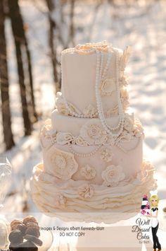 Vintage Pearl Ruffle Wedding Cake