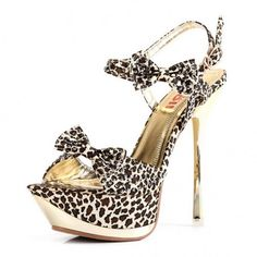 Kvoll Women\'s High Contrast Stitching Platform Satin Leopard Print Sandals with Bowknot: Shoes from Picsity.com
