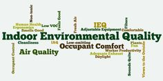 Indoor Environmental Quality (IEQ) is most simply described as the conditions inside a building. It does not refer to the air quality alone, but the entire environmental quality of a space, which includes air quality, access to daylight and views, pleasant acoustic conditions, and occupant control over lighting and thermal comfort.