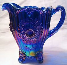 Image detail for -Cobalt Blue Carnival Glass Dahlia Lemonade Pitcher Large 46 Ounce ...