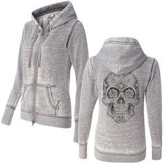 Women's Sugar Skull Sketch Super Soft Burnout Zip Up Hoodie #T-Shirt #Tees #fashion #fifty5clothing #style #skulls #sweatjacket #hoodie