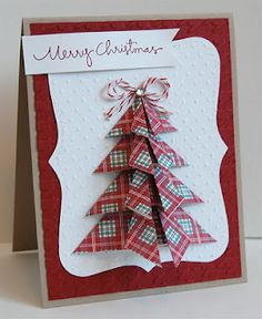 Origami tree Christmas card. Cute.