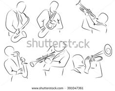 Saxophone, trumpet player, a set of pencil drawings, jazz orchestra. Drawn by hand scribble black and white cartoon vector