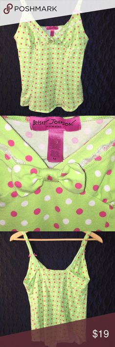 """⚡️Betsey Johnson polka dot cami Cute camisole by Betsey Johnson Intimates.  Unique Betsey spunk in the design.  Bows and polka dots galore !                        Lime green with pink and white polka dots Adjustable straps. Women's medium that measures 14"""" at bust & 13.5"""" from back of collar to hem. Betsey Johnson Intimates & Sleepwear"""
