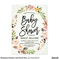 bohemian feathers and floral wreath baby shower 5x7 paper invitation card