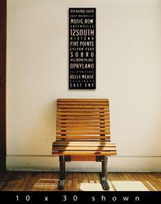 Nashville neighborhoods typography graphic art on by geministudio, $95.00
