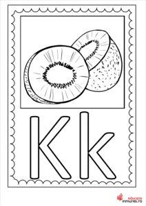 Litera K -Planșă de colorat Montessori, Symbols, Lettering, Double Deck Bed, Icons, Drawing Letters, Texting, Glyphs