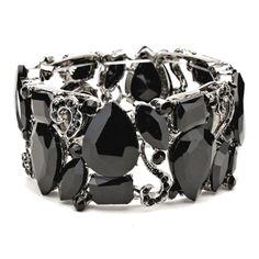 Jet Black Crystal Stone Stretch Bracelet Elegant Formal Jewelry