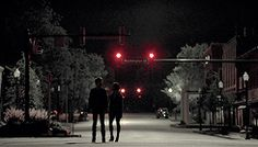 Two People Standing in a Dark Lonely Street | Gif