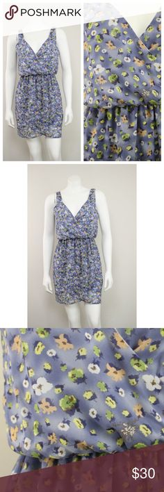 "Lush Blue Floral Print Chiffon Blouson Dress NWT Lush Blue Floral Print Chiffon Grecian Faux Wrap Blouson Dress.   Measurements (flat / un-stretched): Tagged Size: S Bust: 36"" Length (shoulder to hem): 33"" Lush Dresses Mini"