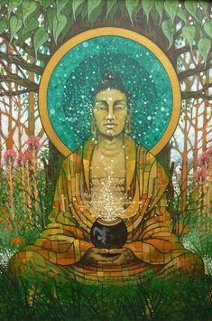 """""""The more we genuinely care about others the greater our own happiness & inner peace.""""    ~ Allan Lokos  Artist:  Aloka   Title: Shakyamuni    <3 lis"""