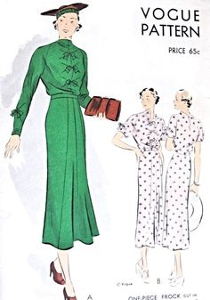 1930s Dress Frock Pattern Vogue 7209 Lovely Bow Trim Two Neckline styles Bust 34 Vintage Sewing Pattern