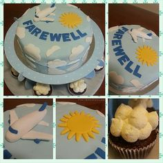 Farewell Cake - Chocolate sponge cake with whipped cream, covered with light blue fondant that represents the sky. White clouds are placed around the cake with a sun and plane on the surface. The cupcake is also chocolate sponge, the top piped with whipped cream to look like clouds.
