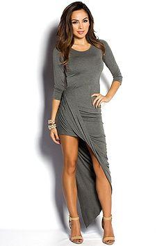 Heather Gray 3/4 Sleeve Draped Asymmetrical Dress