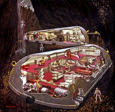 Cutaway or cross-section drawings are mostly just fancy residues of a long-gone era when engineering and architecture visualisation was based on hand-drawn images that were often closer to art than boring illustration. Underground Homes, Underground Shelter, Sci Fi Ships, Vintage Space, Architecture Visualization, Futuristic Art, Man On The Moon, Science Fiction Art, Space Travel