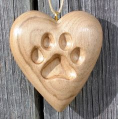 Paw Print Heart Wood Carving Dog or Cat, Ornament, Hand Carved Gift Sculpture Hanging Kitty Home Decor Brown Handmade Art by Joan For Sale