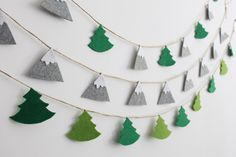 Felt Mountain Garland Mountains and Pine Trees by LaLaFeltDesign