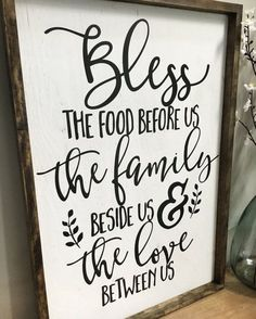 Kitchen Decor Bless the Food Before Us Wood Sign Rustic Wood Sign Framed Rustic Wood Signs, Wooden Signs, Rustic Decor, Black Chalk Paint, Diy Home Decor, Room Decor, Dining Room Wall Decor, Bless The Food, Kitchen Signs