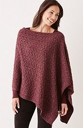 Cable knit poncho in port heather