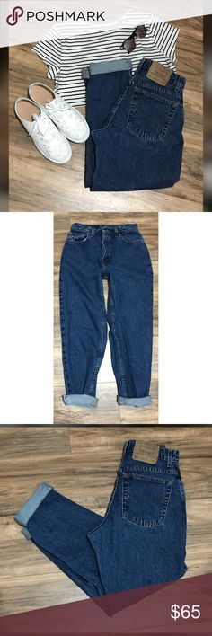 "Vintage Levi's 551 Mom Jeans Size 29 Super cute pair of vintage 551 Levi's jeans circa mid 90's   High waist  Jeans cuffed for photo only  Waist measures 28"" Tag size 10 Short  100 percent cotton  Vintage Jeans run SMALL I cannot emphasize that enough   Listing for jeans only Great condition with no stains or holes Smoke free home   Please feel free to ask me any questions about this item  Please check the photos for care instructions or fabric blend information  Happy Poshing!! 🛍🛍 Levi's…"