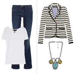 How to dress up your jeans and t-shirt? Try a statement necklace and smart blazer.
