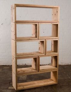 Wooden shelf from boxes