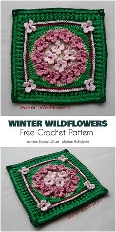 Winter Wildflowers is block which allows you to create lots of amazing projects. For example, you can use this square to make a blanket, bedspread, pillow Crochet Square Blanket, Crochet Squares Afghan, Granny Square Crochet Pattern, Crochet Blocks, Afghan Crochet Patterns, Knitting Patterns, Crochet Granny, Granny Squares, Granny Granny
