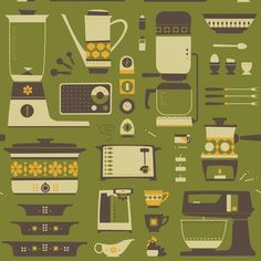 Retro Kitchen fabric by The Boer War