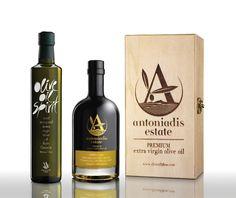 Premium Extra Virgin Olive Oil ,by Antoniadis Estate P. Whiskey Bottle, Vodka Bottle, Olive Oil Packaging, Greek Olives, Olive Oil Bottles, Packaging Design, Greece, Olive Oils, Vinegar