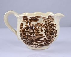 Brown Transferware Fluted  Creamer Cream Pitcher Tonquin Swans Cascading Waterfall Sailboat