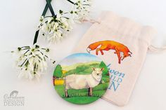 Sheep Fabric Pocket Mirror Cosmetic Mirror Makeup Mirror Gifts for Women Fabric Covered Mirror by ceridwenDESIGN http://ift.tt/1SAOvIa