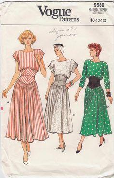 Show off that waist! Retro 1980s Vogue 9580 dropped waist dress pattern. #VoguePatterns #Cincheddroppedwaist1980sdress