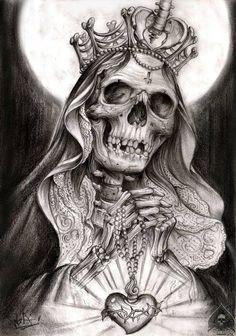 Skull Art by Alex Got a ☠️ Chicano Tattoos, Chicano Art, Skull Tattoos, Sleeve Tattoos, Cool Tattoos, Neue Tattoos, Bild Tattoos, Tattoo Sketches, Tattoo Drawings