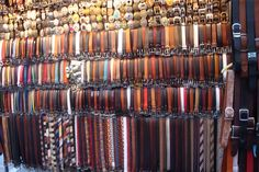 Florence, Italy - leather belts and ties for sale on the streets