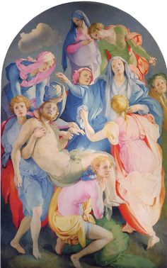 "Jacopo da Pontormo, Entombment of Christ, Capponi Chapel, Santa Felicita, Florence, Italy, 1525-1528. Oil on wood, 10' 3"" x 6' 4""."