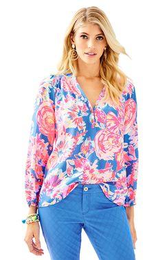 e18b5bd4a71d42 Elsa Silk Top - Bay Dreamin Beach Dresses, Silk Top, Lilly Pulitzer, Knit