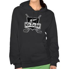 New Zealand Ice Hockey Flag Hooded Sweatshirt.  Warm and cosy American Apparel California Fleece hooded tops! For many more #hockey hoodies, please check out my store: http://www.zazzle.com/gamefacegear*/ #NewZealand