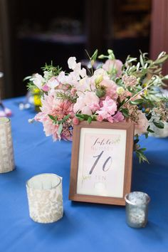 Reception Table Decor Number Flowers Blue Pink | Firehouse-Restaurant-Wedding-Old-Town-Sacramento-Wedding-Photographer