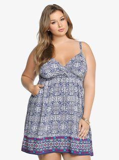 Plus Size Print Challis Tank Dress