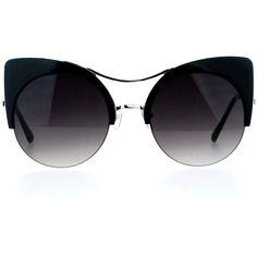 Amazon.com: SA106 Retro Half Rim Thick Cat Eye Circle Lens Chic... (610 DOP) ❤ liked on Polyvore featuring accessories, eyewear, sunglasses, glasses, circular glasses, circular sunglasses, retro glasses, thick glasses and retro style sunglasses