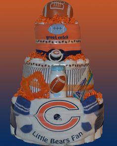 Chicago Bears Football Diaper Cake by Smurfetterocks on Etsy, $58.00