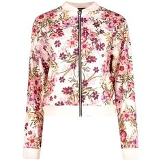 Katie Oriental Flower Bomber (36 AUD) ❤ liked on Polyvore featuring outerwear, coats, tops, white wrap coat, flower coat, bomber coat, wrap coat and white coat
