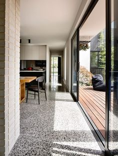 Alphington House by InForm - Terrazzo Flooring Polished Concrete Flooring, Granite Flooring, Kitchen Flooring, Terrazo Flooring, Sliding Door Track, Sliding Doors, Terrazzo Tile, Travertine, Home Remodeling