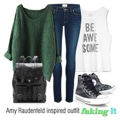 """""""Amy Raudenfeld inspired outfit/Faking it"""" by tvdsarahmichele ❤ liked on Polyvore featuring Billabong, Paige Denim, Converse and Proenza Schouler"""