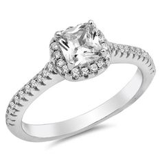 Best Sterling Silver Engagement Rings To Buy! Engagement Ring Sizes, Wedding Engagement, Cubic Zirconia Engagement Rings, Diamond Simulant, Halo Rings, Halo Diamond, Fashion Rings, Round Diamonds, Bridal Jewelry