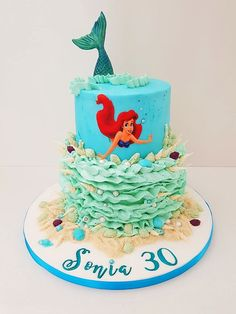 Everyone's favourite mermaid with a plunged effectin the top tier. The cake is completed with buttercream waves and hand made sea shells. For more like this, visit our website for inspiration on children's cake in Shoreham-by-Sea, Brighton. Beach Cakes, Little Cakes, Kids Hands, Brighton, Sea Shells, Mermaid, Birthday Cake, Waves, Website