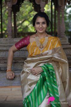 Kanchipuram Silk Sarees Shop in Chennai Wedding Saree Blouse Designs, Pattu Saree Blouse Designs, Indian Beauty Saree, Indian Sarees, Indian Gowns, Indian Wear, Bridal Silk Saree, Gold Silk Saree, Wedding Saree Collection